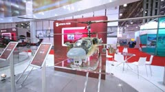 Miniatures of Mi-H328 and Ka-52 stands on exhibition Stock Footage