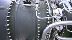 Engine of helicopter is presented on exhibition - stock footage
