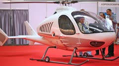 Helicopter Berkut stands on International exhibition Stock Footage
