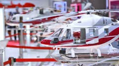 Helicopter Ansat stands on exhibition of helicopter industry Stock Footage