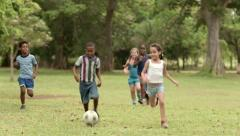 Happy children playing soccer with ball in park - stock footage