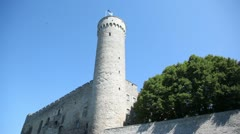 part of castle with tower Long Herman from white stone - stock footage