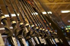 Stock Photo of Fishing Rods On Display