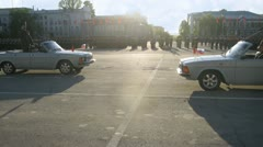 Officers in cars go on Area of Kuibyshev on Military parade Stock Footage