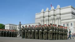 Troops of Russian Army go near Opera and ballet theater. Stock Footage