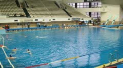 Teams Astana and Dynamo play waterpolo in pool Stock Footage