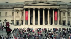 Famous London Scenes - National Portrait Gallery, Trafalgar Square, UK - HD Stock Footage