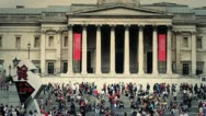 Stock Video Footage of Famous London Scenes - National Portrait Gallery, Trafalgar Square, UK - HD