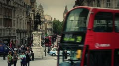 Famous London Scenes - People & Red Buses - Busy Streets of London 2 HD Stock Footage