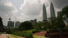 Timelapse Petronas Twin Towers garden Stock Footage