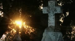 Timelapse cemetery cross Stock Footage