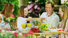 Young Caucasian Family Sharing Healthy Lunch Together Stock Footage