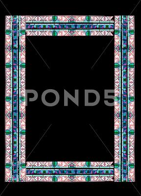 Stock Illustration of border made of stained glass with floral motifs with clipping path