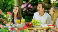 Family Enjoying a Healthy Meal Stock Footage