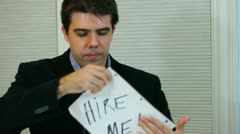 Hire me hired job career got job employment Stock Footage