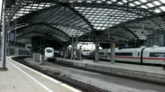 Cologne train station tracks Stock Footage