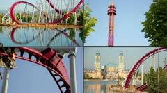 Line of red roller coaster rail - stock footage