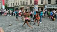 African dancers at Edinburgh Festival Fringe Stock Footage
