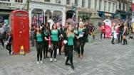 Singing at the Edinburgh Festival Fringe Stock Footage