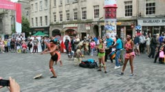 African dancers at Edinburgh Festival Fringe Stock Footage