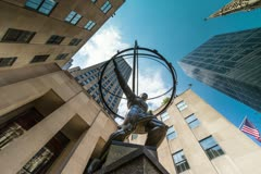 Atlas Statue at Rockefeller Center in Manhattan New York City, USA in 4K Stock Footage