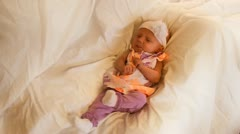 Fussy newborn baby girl Stock Footage