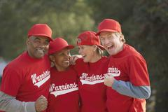 Group of middle-aged ball players Stock Photos