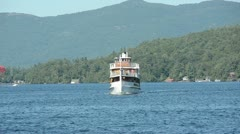 Boat tour on Lake George Stock Footage