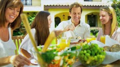 Young Family Sharing Healthy Lunch Stock Footage