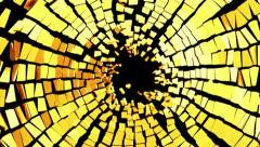 Broken golden glass: destruction with shallow DOF Stock Footage