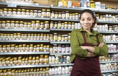 Saleswoman in health food store Stock Photos
