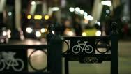 Urban nightlife bike rack Stock Footage
