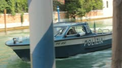 Police boat in canal in Venice (HD) k - stock footage