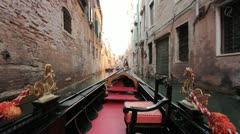 Floating down Venice in a Gondola (HD) c Stock Footage