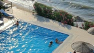 Stock Video Footage of Swimming Pool on Beach Resort