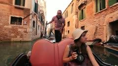 Young tourist on Gondola ride in Venice (HD) k Stock Footage