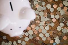 High angle view of piggy bank surrounded by coins Stock Photos