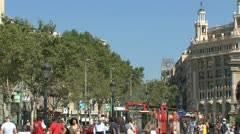 Tourists at placa de catalunya Stock Footage