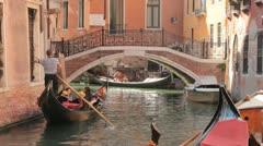 Gondolier steering gondola (HD) c Stock Footage