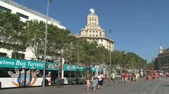 Tourism bus at placa de catalunya Stock Footage