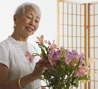 Senior Asian woman arranging flowers indoors Stock Photos