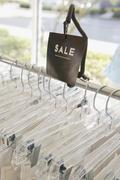 Sale rack at clothing store Stock Photos