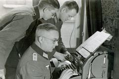 WWII, Germany. German officers at the telegraph. - stock photo