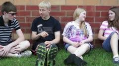 Friends outside of school - stock footage