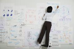 Asian businesswoman writing on flow chart Stock Photos