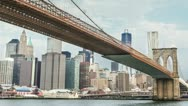 Stock Video Footage of Brooklyn Bridge and Manhattan (slow pull back)