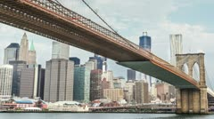 Brooklyn Bridge and Manhattan Skyline New York City NYC Timelapse Freedom Tower Stock Footage