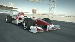 Formula one race car on desert circuit passing camera Stock Footage