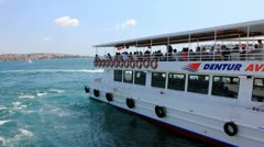 Ferry Boats on the Bosphorus in Istanbul, Turkey Stock Footage
