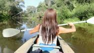 Kayak, river, girl Stock Footage
